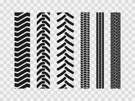 Los neumáticos de maquinaria pesada siguen los patrones, la construcción de huellas de neumáticos de vehículos agrícolas, el rastro del suelo del transporte industrial o las texturas de marcas como elementos en bucle sin fisuras