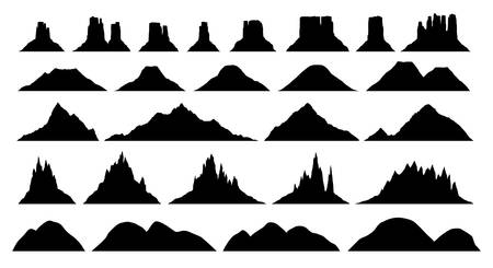 Silhouettes of different mountain types , big vector set, illustrations of plateau, hill, rock, highland, volcano silhouettes isolated on white Illusztráció