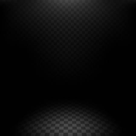 Darkness background template isolated on a transparency grid, vector design element for dark scenes with perspective, black background mockup illustration