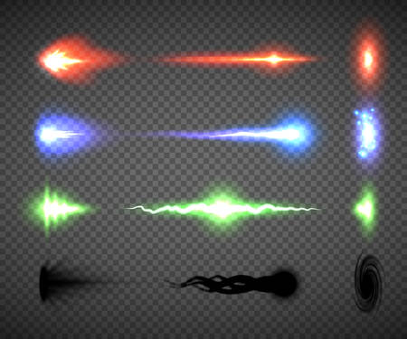 Futuristic energy weapon firing effect vectors, sci-fi or computer game graphics of weapon nozzle flash, projectile and hit, an electric, blaster, laser, singularity or plasma gun shots illustrations Stock Illustratie