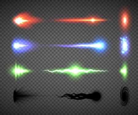 Futurystyczne wektory efektów strzałów z broni energetycznej, sci-fi lub grafiki z gier komputerowych przedstawiające błysk dyszy broni, pocisk i trafienie, ilustracje strzałów z broni elektrycznej, blastera, lasera, osobliwości lub plazmy