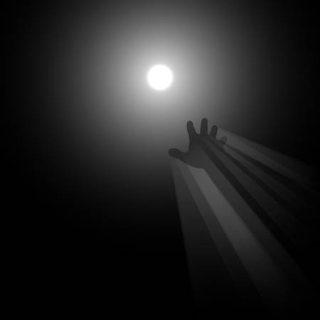 Light in the end concept illustration, a metaphor of afterlife, knowledge, clinical death, hope, religion, light in the end of the tunnel, hand reaching for dim light Ilustração