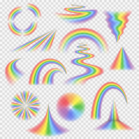 Various rainbow bands, curves, turns, circles and other shapes and objects with perspective depth, semi-transparent rainbows a set of realistic vector elements isolated