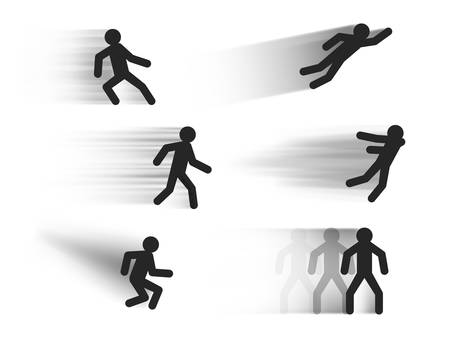 Speed lines vector templates with stick figures in various poses , dark motion blur lines illustrations isolated on white, fast movement effect vector set Illusztráció