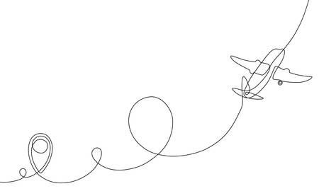 Single line drawing of airplane flight path with start point, one line art of jet airliner takeoff, a continuous line concept for tourism or commercial airlines