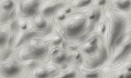 Shaded relief topographic map vector illustration, contour line map of rough terrain, mountains or hills on a topography map with elevations, depressions isohypses lines and sun shading