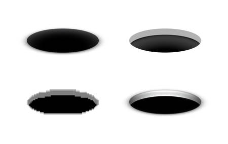 Hole in the ground, vector black cartoon hole in various styles, open manhole, a set of abstract opening illustrations