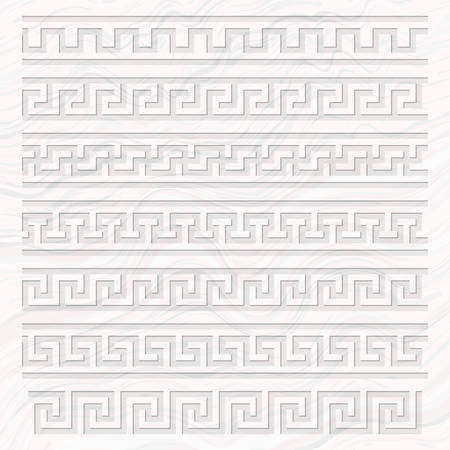Meander pattern overlay on a marble background, Ancient Greece meandros ornament of various types, three-dimensional stone carved decorative border, Greek key or fret