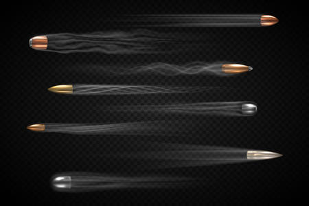 Realistic flying bullet with smoke trace isolated, a set of shot bullets in slow motion, various types firearm projectiles, gunfire vector illustrations