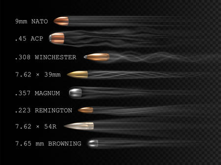 Realistic flying bullet with smoke trace and caliber inscriptions, a set of shot bullets in freeze time, projectiles of various firearm types in motion