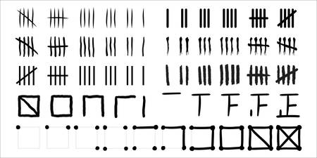 Tally marks of various styles, a set of prison wall day marks, vector hash marks numbers for counting and scoring, black and white crossed stroke signs illustration with grunge effect