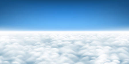 Above the clouds panorama vector, cloudscape view from above, plane flight view of clouds, sky and horizon
