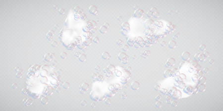 Soap foam white flakes with bubbles a realistic vector illustrations set, isolated design elements of bath shampoo or detergent fluffy foam for bathing, wash and cleaning themes