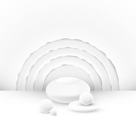 Abstract empty white podium, stage or product place, 3D template with geometrical figures and background