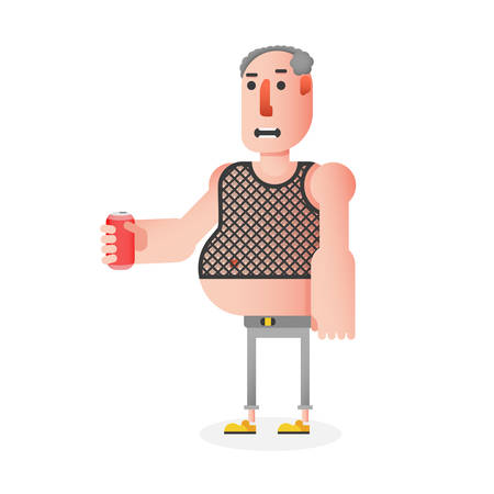 Bald man character in mesh t-shirt with a drink can in his hand, flat art vector provincial male character in casual clothes on the rest, party or barbeque 矢量图像