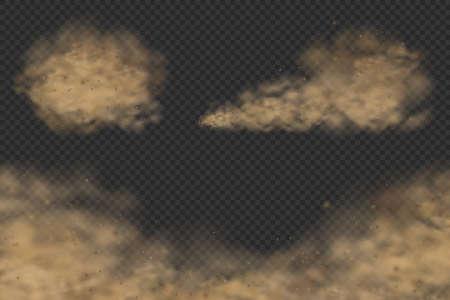 A set of various dust clouds with particles realistic vector illustrations, road dust or sand storm, a polluted air visualisation design elements