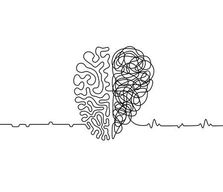 Heart vs brain continuous line drawing concept, emotions with rationality vector illustration in one line style, simple metaphor of the duality of human personality
