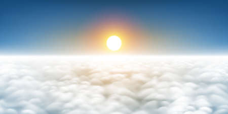 Sunrise above the clouds a realistic panorama vector illustration, sunset cloudscape a view from above, plane flight view of clouds, sky, sun, and horizon 矢量图像