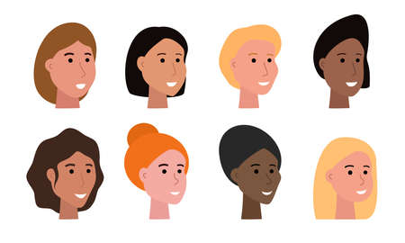 Set of smiling faces of woman of various ethnicity and with different skin tone and haircuts, heads of female characters isolated on white, human faces vector illustrations in flat art style