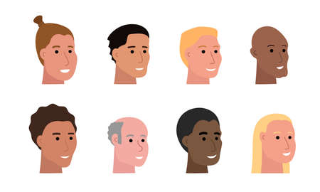 Set of smiling faces of man of various ethnicity and with different skin tone and haircuts, heads of male characters isolated on white, human faces vector illustrations in flat art style