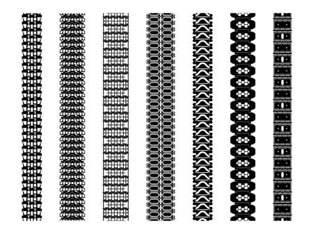 Set of tank track treads isolated on white. Various caterpillar tracks an impressed treads of heavy vehicles like tractors, bulldozers, military transport units. Continuous track brushes.