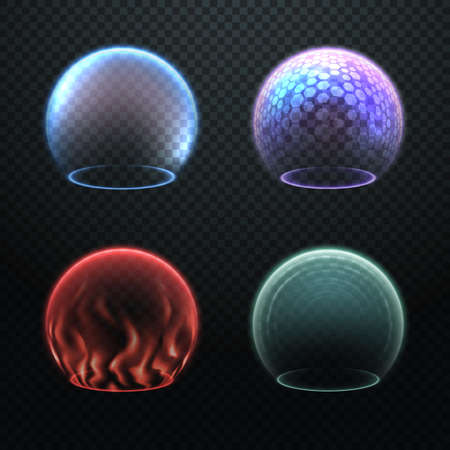 Colorful force field set isolated on transparency background, various protection sphere, force bubble, energy shield or defense field illustrations, deflector, barrier, science fiction design element