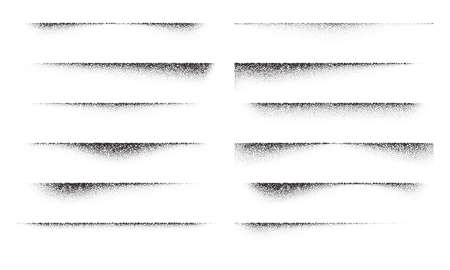 A set of stipple gradient shadow from paper sheet, various stipple hatching technique shadow effects, dot hatching or halftone gradient overlay shadows of edge of flat object
