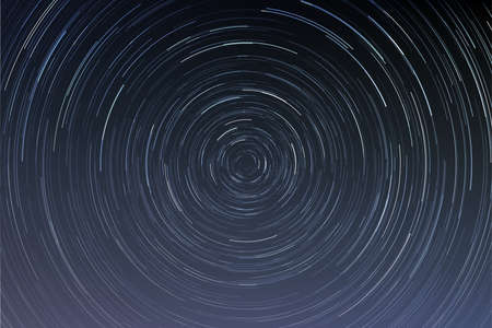 Star trails in a night sky, long exposure style realistic circular star arcs pattern, star motion due to Earth's rotation vector illustration