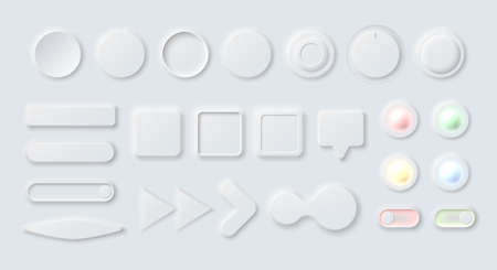 Various neumorphic interface design elements of light gray color, figures, arrows, buttons, switches and dialogue boxes for modern app's and sites