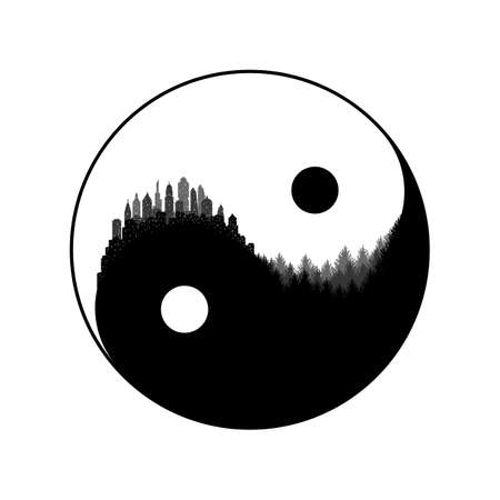 A vector concept of ecological balance between humanity and nature, city and forest harmony metaphor as yin yang negative space illustration
