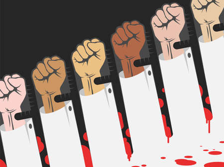 Police brutality concept , protest with raised hands in opposite to police batons covered in blood, protest for the rights or against tyranny a negative space vector illustration Illusztráció
