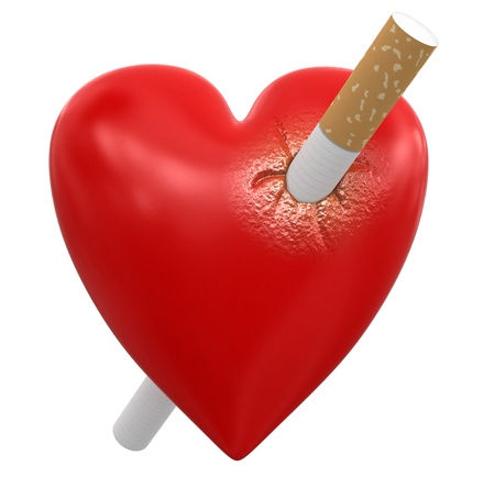 heartiness: Heart with Cigarette  clipping path included