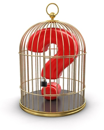Gold Cage with Quest  clipping path included  photo