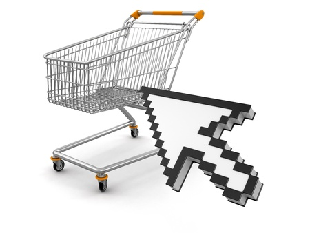 Shopping Basket and Cursor  clipping path included  photo