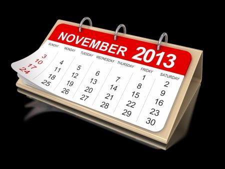 包括2013年11月剪切路徑 - 日曆