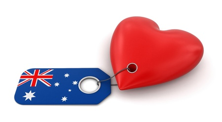 Heart with Australian flag  clipping path included  photo
