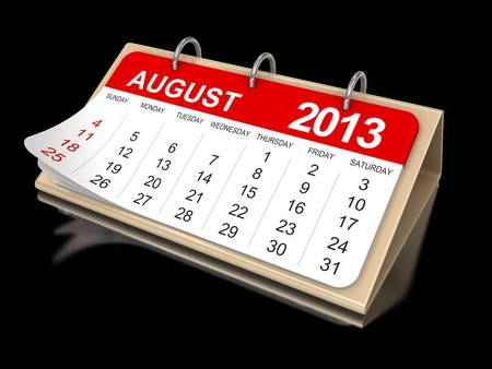 Calendar -  August 2013  clipping path included