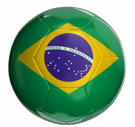 3d ball: Soccer ball with Brazilian flag