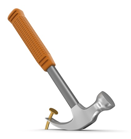 Hammer  and nail  clipping path included
