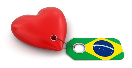 Heart with Brazilian flag  clipping path included  photo