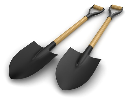 cultivated land: Shovels  clipping path included  Stock Photo