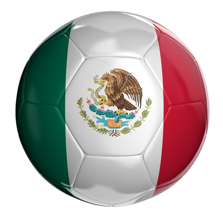 mexican flag: Soccer ball  with Mexican flag  Stock Photo