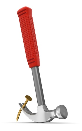 hobnail: Hammer  and nail  clipping path included