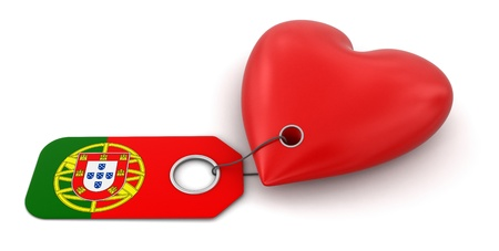 Heart with Portuguese flag  clipping path included  photo