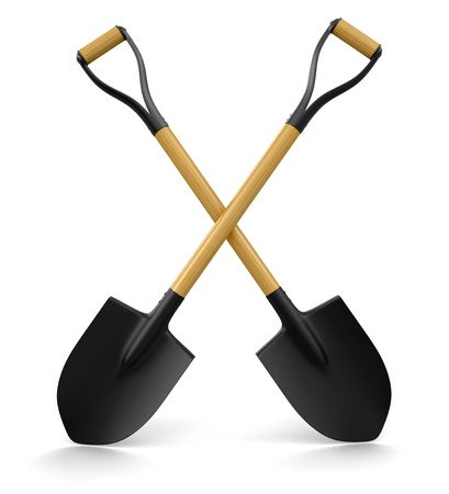 earth moving: Shovels  clipping path included  Stock Photo