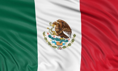 bandera mexicana: 3D bandera mexicana Foto de archivo