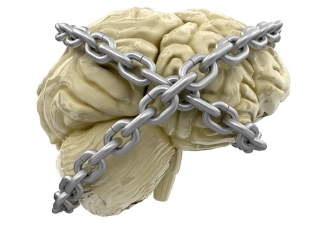 human brain and lock   photo