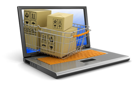 Laptop, Shopping Basket and packages  photo