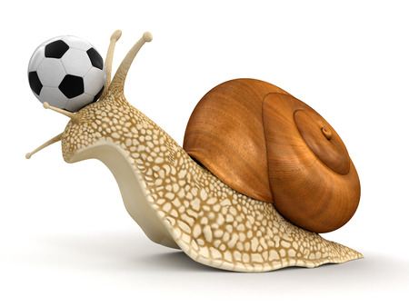Snail and Football  Stock Photo