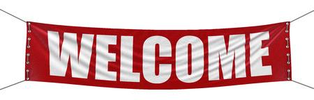 bienvenida: Bienvenido trazado de recorte incluido Banner Foto de archivo